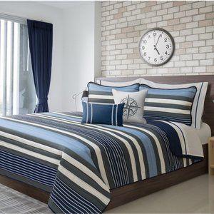 New King Marine Blue 3-Piece Quilt Set